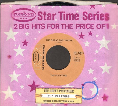 Platters - Smoke Gets In Your Eyes/The Great Pretender (double-hit re-issue with juke box label and company sleeve) - NM9/ - 45 rpm Records
