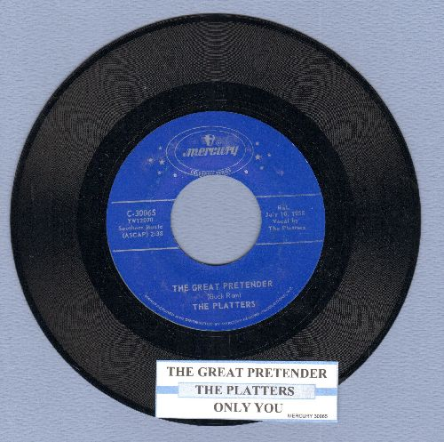 Platters - The Great Pretender/Only You (authentic-looking re-issue with juke box label) - NM9/ - 45 rpm Records