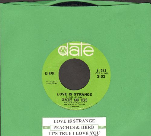 Peaches & Herb - Love Is Strange/It's True I Love You (with juke box label) - NM9/ - 45 rpm Records
