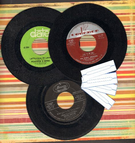 Everly Brothers, Peaches & Herb, Dinah Washington & Brook Benton - Vintage Duets 3-Pack: First issue 45s include hits Let It Be Me, Let's Fall In Love and Baby You've Got What It Takes. Shipped in plain sleeves with 4 blank juke box labels. GREAT for a ju