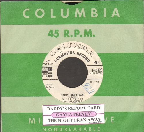 Peevey, Gayla - Daddy's Report Card/The Night I Ran Away (ENCHANTING children's novelty 2-sider! RARE DJ advasnce pressing with juke box label and vintage Columbia company sleeve) - NM9/ - 45 rpm Records