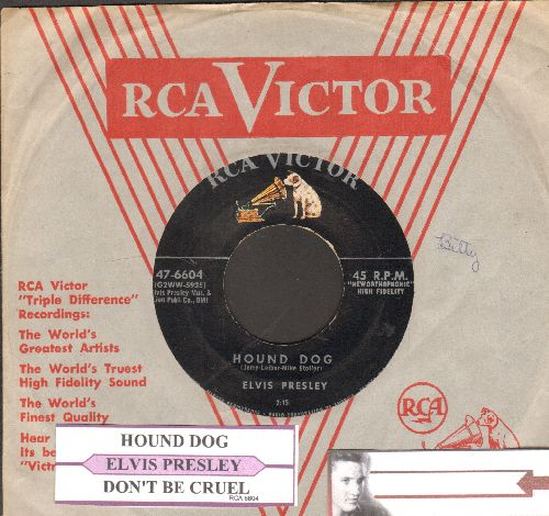 Presley, Elvis - Don't Be Cruel/Hound Dog (first pressing with juke box label and RCA company sleeve) - EX8/ - 45 rpm Records