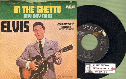 Presley, Elvis - In The Ghetto/Any Day Now (Collectors' Series with picture sleeve and juke box labe) - NM9/VG7 - 45 rpm Records