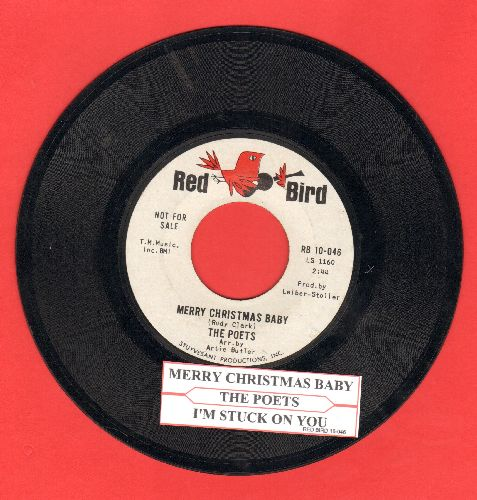 Poets - Merry Christmas Baby/I'm Stuck On You (DJ advance pressing with juke box label) - VG7/ - 45 rpm Records