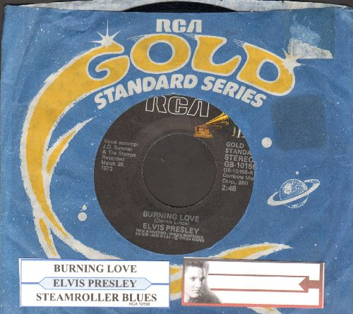 Presley, Elvis - Burning Love/Steamroller Blues (double-hit re-issue with juke box label and RCA company sleeve) - NM9/ - 45 rpm Records