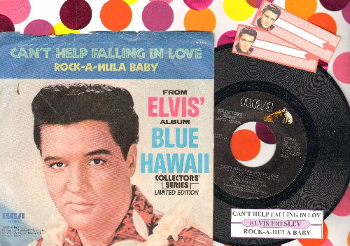 Presley, Elvis - Can't Help Falling In Love/Rock-A-Hula Baby (1970s pressing with juke box label and picture sleeve) - NM9/EX8 - 45 rpm Records