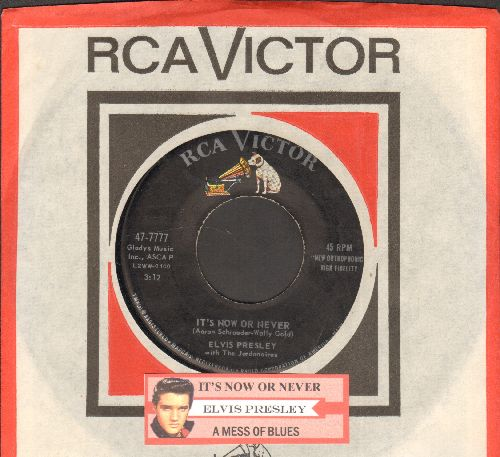 Presley, Elvis - It's Now Or Never/A Mess Of Blues (with juke box label and RCA company sleeve) - EX8/ - 45 rpm Records