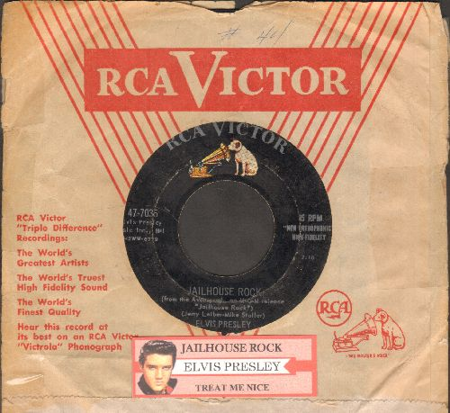 Presley, Elvis - Jailhouse Rock/Treat Me Nice (first pressing with RCA company sleeve and  juke box label) - VG7/ - 45 rpm Records