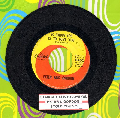 Peter & Gordon - To Know You Is To Love You/I Told You So - EX8/ - 45 rpm Records