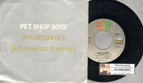 Pet Shop Boys - Opportunities (Let's Make Lots Of Money)/Was That What It Was (with juke box label and picture sleeve) - NM9/EX8 - 45 rpm Records