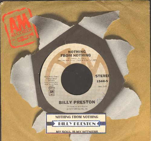 Preston, Billy - Nothing From Nothing/My Soul Is A Witness (with juke box label and  A&M company sleeve) - EX8/ - 45 rpm Records