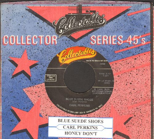 Perkins, Carl - Blue Suede Shoes/Honey Don't (double-hit re-issue with juke box label and company sleeve) - EX8/ - 45 rpm Records