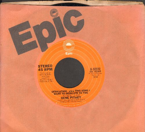 Pitney, Gene - Dedication - aka This Song I Want To Dedicate To You/Sandman (with Epic company sleeve) - NM9/ - 45 rpm Records