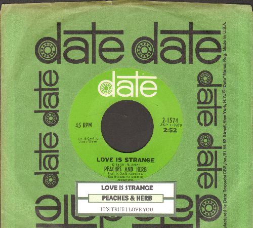 Peaches & Herb - Love Is Strange/It's True I Love You (with juke box label and Date company sleeve) - NM9/ - 45 rpm Records