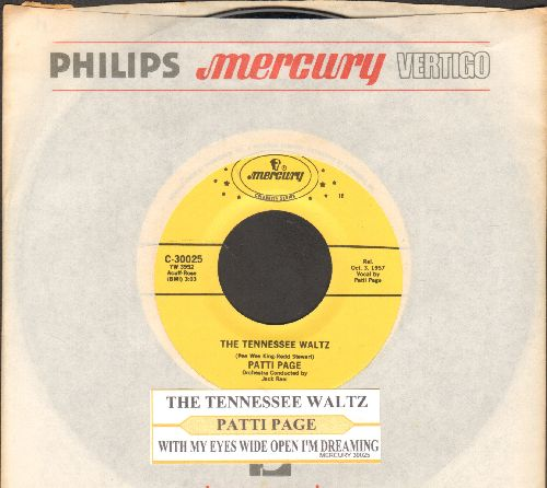 Page, Patti - The Tennessee Waltz/With My Eyes Wide Open I'm Dreaming (authentic-looking double-hit re-issue with juke box label and company sleeve) - NM9/ - 45 rpm Records