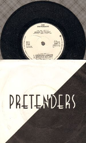 Pretenders - Swinging London/Nervous But Shy (British Pressing with picture sleeve, small spingle hole) - NM9/EX8 - 45 rpm Records