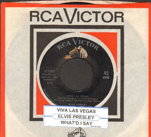 Presley, Elvis - Viva Las Vegas/What'd I Say (with juke box label and RCA company sleeve) - EX8/ - 45 rpm Records