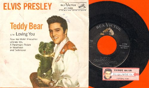 Presley, Elvis - Teddy Bear/Loving You (first pressing with juke box label and picture sleeve) - EX8/VG7 - 45 rpm Records
