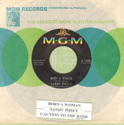 Posey, Sandy - Born A Woman/Caution To The Wind (with juke box label and MGM company sleeve) - EX8/ - 45 rpm Records