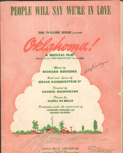 Oklahoma - People Will Say We're In Love - Vintage SHEET MUSIC for the song from Rodgers & Hammerstein's Broadway Musical -Oklahoma- - VG6/ - Sheet Music