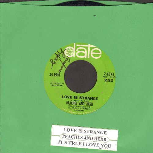 Peaches & Herb - Love Is Strange/It's True I Love You (with juke box label)(minor wol) - EX8/ - 45 rpm Records