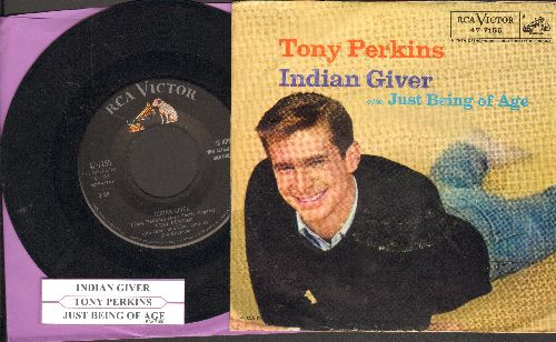 Perkins, Tony - Indian Giver/Just Being Of Age (with picture sleeve und juke box label) - EX8/VG7 - 45 rpm Records