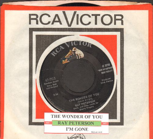 Peterson, Ray - The Wonder Of You/I'm Gone (with juke box label and RCA company sleeve) - NM9/ - 45 rpm Records
