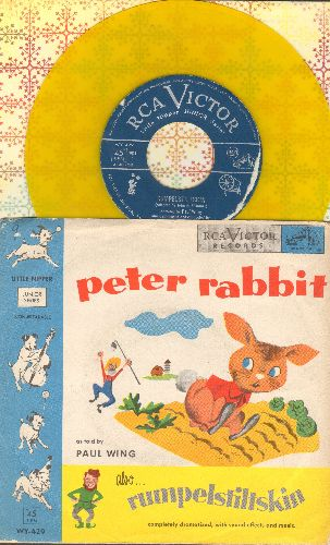Disney - Peter Rabbit/Rumpelstilskin (RARE Yellow Vinyl with gate-fold picture-cover) - EX8/VG7 - 45 rpm Records