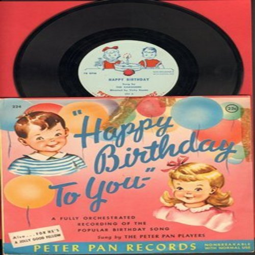 Caroleers - Happy Birthday/For He's A Jolly Good Fellow (7 inch 78rpm record, small spindle hole, with picture sleeve) - NM9/VG7 - 78 rpm