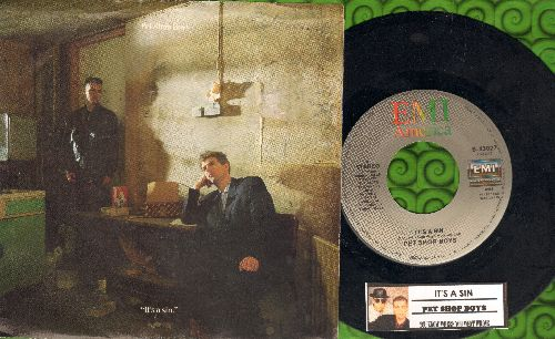 Pet Shop Boys - It's A Sin/You Know Where You Went Wrong (with picture sleeve and juke box label) - NM9/EX8 - 45 rpm Records