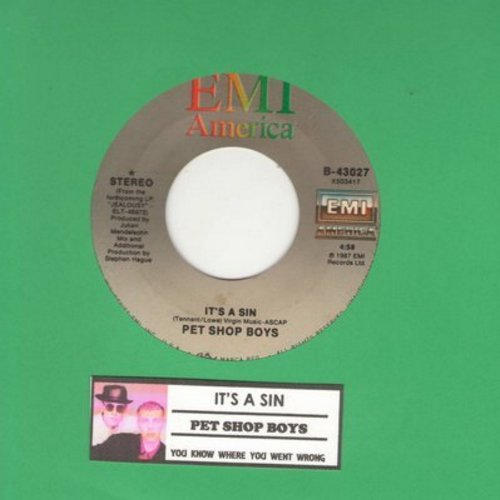 Pet Shop Boys - It's A Sin/You Know Where You Went Wrong (with juke box label) - NM9/ - 45 rpm Records