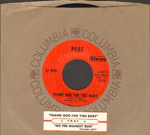 PG & E - Thank God For You Baby/See The Monkey Run (with juke box label and Columbia company sleeve) - NM9/ - 45 rpm Records