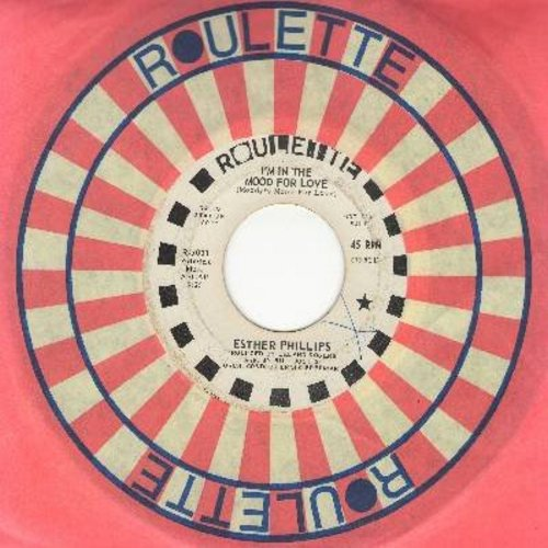 Phillips, Esther - I'm In The Mood For Love/Too Late To Worry, Too Blue To Cry (DJ advance pressing with Roulette company sleeve) - EX8/ - 45 rpm Records