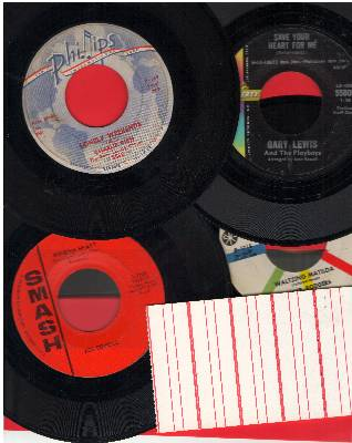 Rich, Charlie, Joe Dowell, Jimmie Rodgers, Gary Lewis & The Playboys - Vintage 60s Torch Song 4-Pack: First issue 45s in excellent condition. Hits include Lonely Weekend, Waltzing Matilda, Wooden Heart, Save Your Heart For Me (shipped in white paper sleev