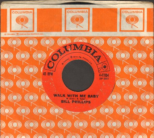 Phillips, Bill - Walk With Me Baby/Blues Are Sittin' In (with Columbia company sleeve) - VG7/ - 45 rpm Records