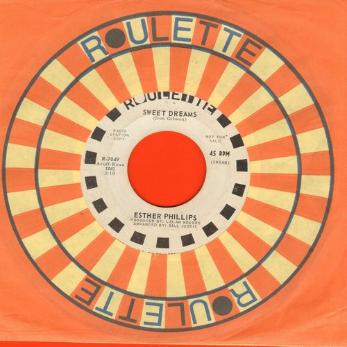 Phillips, Esther - Sweet Dreams/Tonight I'll Be Staying Here With You (DJ advance pressing with Roulette company sleeve) - EX8/ - 45 rpm Records