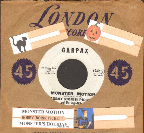 Pickett, Bobby (Boris) - Monsters' Holiday/Monster Motion (RARE follow-up to novelty hit Monster Mash, with juke box label and vintage London company sleeve) - EX8/ - 45 rpm Records