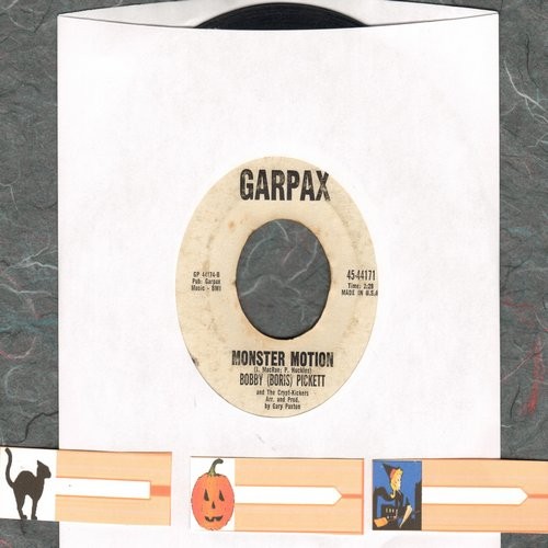 Pickett, Bobby (Boris) - Monsters' Holiday/Monster Motion (RARE follow-up to novelty hit Monster Mash with 3 blank Halloween juke box labels!)  - VG7/ - 45 rpm Records