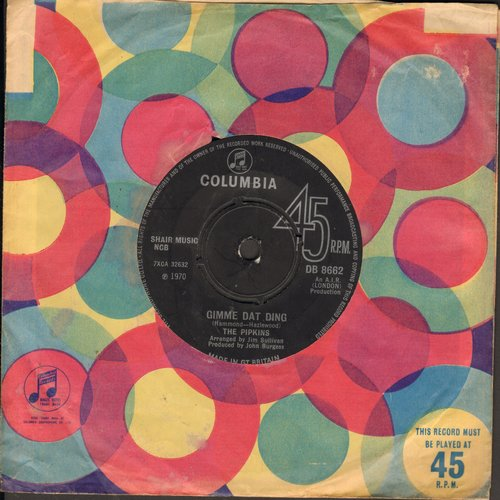 Pipkins - Gimme Dat Ding/To Love You (British Pressing with Columbia company sleeve, removable spindle adapter) - NM9/ - 45 rpm Records