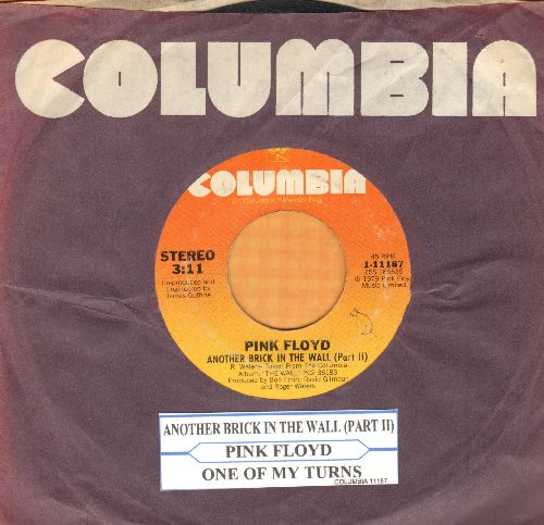 Pink Floyd - Another Brick In The Wall (Part 2)/One Of My Turns (with Columbia company sleeve and juke box label) - VG7/ - 45 rpm Records