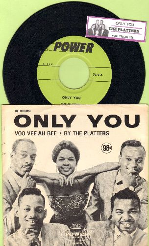 Platters - Only You/Voo-Vee-Ah-Bee (with RARE picture sleeve and juke box label) - NM9/EX8 - 45 rpm Records