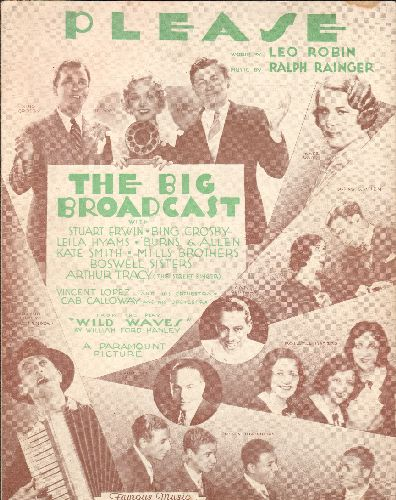 Crosby, Bing, Burns & Allen, Cab Calloway - Please - Vintage SHEET MUSIC for song featured in film The Big Broadcast. NICE cover art featuring all-star cast of entertainers! - EX8/ - 45 rpm Records
