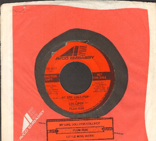 Plum Run - My Girl Lollipop (FANTASTIC medley to the tunes of My Boy Lollipop and Lollipop), double-A-sided DJ advance pressing with RARE company sleeve and juke box label) - EX8/ - 45 rpm Records