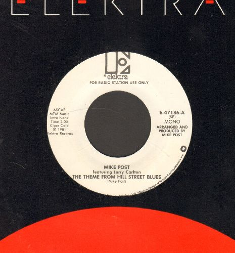 Post, Mike - Theme From Hill Street Blues (double-A-sided DJ advance pressing featuring MONO and STEREO version, with Elektra company sleeve) - M10/ - 45 rpm Records