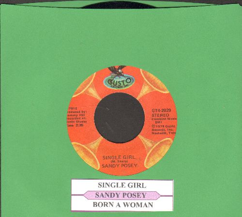 Posey, Sandy - Single Girl/Born A Woman (double-hit re-issue with juke box label) - NM9/ - 45 rpm Records