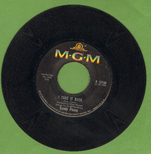 Posey, Sandy - I Take It Back/The Boy I Love - VG7/ - 45 rpm Records