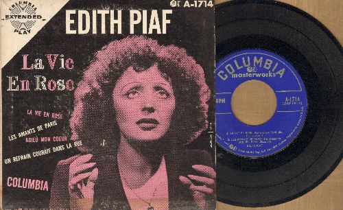 Piaf, Edith - La Vie En Rose:Les Amants De Paris/Adieu Mon Coeur/Un Refrait Dans La Rue (RARE vintage EP record with picture cover) - EX8/VG6 - 45 rpm Records