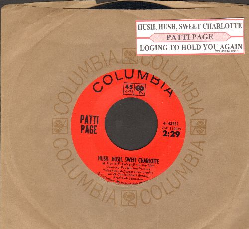 Page, Patti - Hush, Hush, Sweet Charlotte/Longing To Hold You Again (with juke box label and Columbia company sleeve) - NM9/ - 45 rpm Records