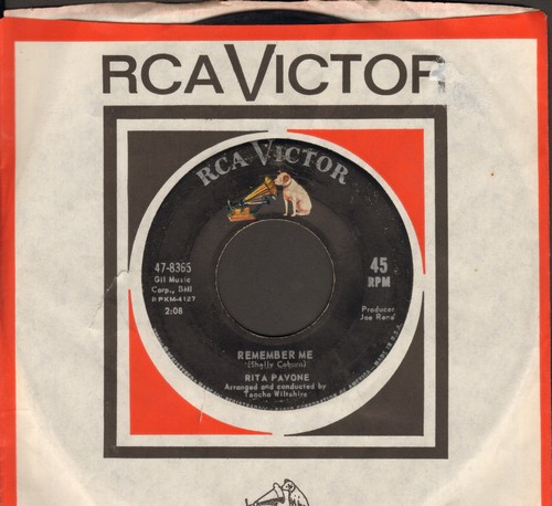 Pavone, Rita - Remember Me/Just Once More (with RCA company sleeve) - EX8/ - 45 rpm Records