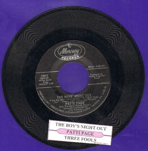 Page, Patti - The Boy's Night Out/Three Fools (with juke box label) - NM9/ - 45 rpm Records